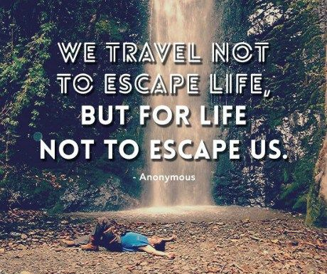 We travel so life doesn't escape us... travelwithlamb.com Travel Quotes | Travel Motivation
