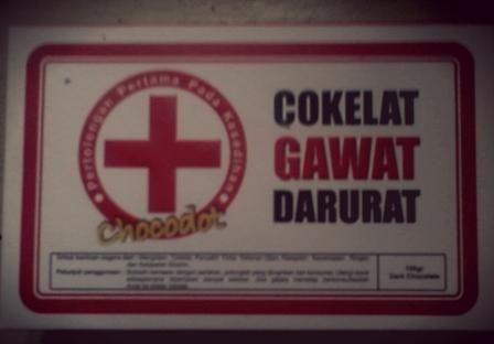Chocodot Cokelat Gawat Darurat untuk bantuan segera dari mengidam cokelat , penyakit cinta , tekanan ujian , kesepian , kecemasan ringan dan kelaparan ekstrim
