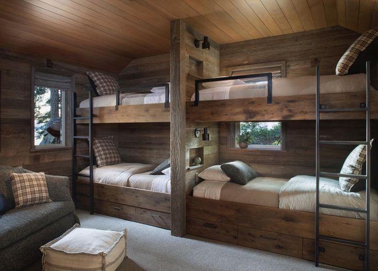 Lakeside reclaimed wood bunk beds at #tahoefamilylakehouse interiors: @jenniferrobininteriors arch: @arcanum_architecture photo: @dyerphoto . . . . #jenniferrobininteriors #laketahoe #bunkbeds #bunkroom #reclaimedwood #plaid #interiordesign #interiors #mountainliving #keeptahoeblue #gettinginthespirit #tahoequarterly