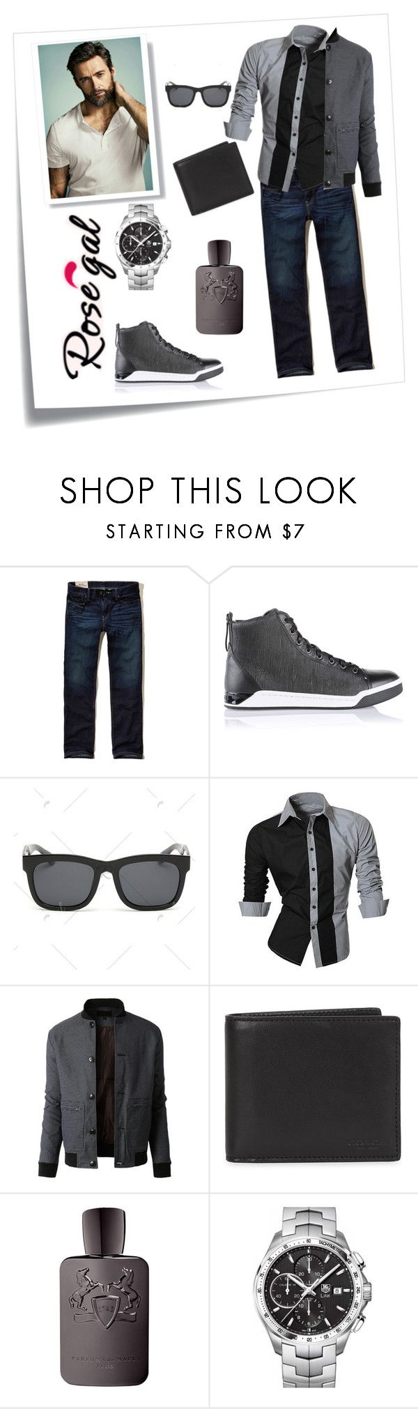 """""""Rosegal"""" by confusioninme ❤ liked on Polyvore featuring Post-It, Hollister Co., Diesel, LE3NO, Coach, Parfums de Marly, TAG Heuer, men's fashion and menswear"""