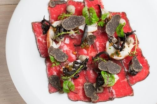 Beef Carpaccio, Canadian Lobster, XO Sauce, Pickled Black Trumpet Mushrooms, and Périgueux Truffle | StarChefs.com