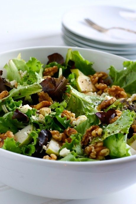 Pear And Walnut Salad. I would add blue cheese instead of feta.