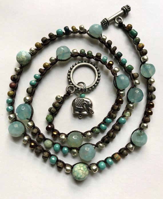 Crochet boho wrap bracelet / necklace beaded by CoffyCrochet