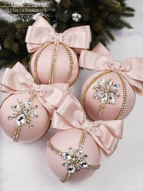Christmas Rhinestones Ornaments Handmade Balls In Gift Box Xmas Decorations Tree Decor Set Light Blush Baubles Pink Christmas Decorations Diy Christmas Baubles Christmas Ornaments