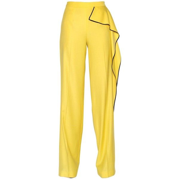 Vionnet Women Ruffled Stretch Wool Crepe Pants (58.275 RUB) ❤ liked on Polyvore featuring pants, bottoms, trousers, yellow, frilly pants, side zipper pants, crepe trousers, crepe pants and yellow pants
