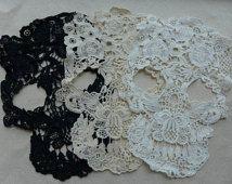 Pizzo Applique, Appliques pizzo teschio, Cotton Lace Trim, grande cranio Appliques, Costume design, 3 pz