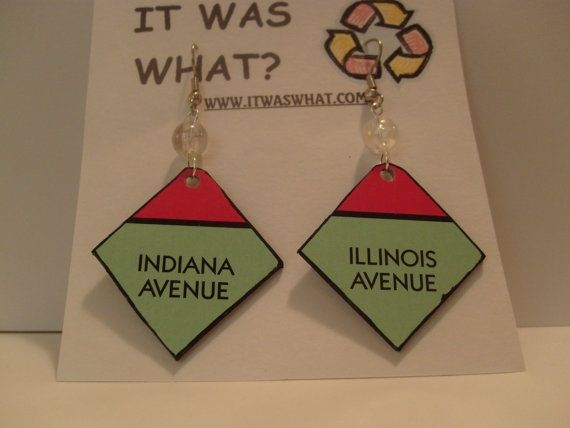 Make pieces of jewelry or something with their favourite board games? monopoly crafts | Recycled Monopoly Property Earrings Indiana ... | teen crafts jewelry