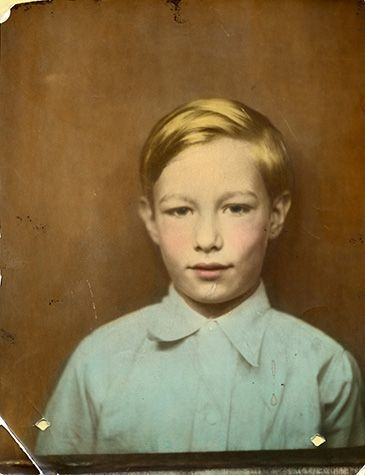 Photograph of Andy Warhol as a young boy about eight years old.