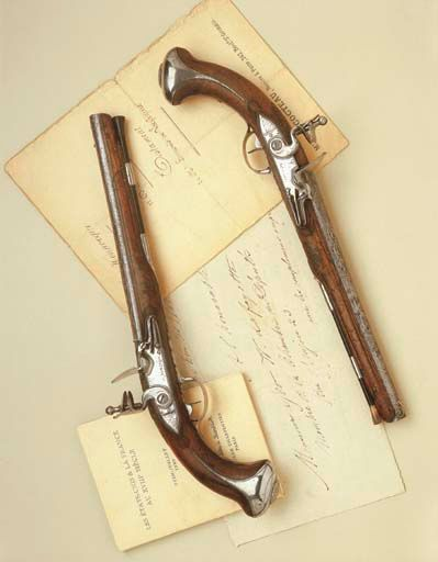 """This pair of pistols, marked by Jacob Walster, were owned by"""" PRESIDENT GEORGE WASHINGTON """"during America's war of independence, ca. 1775-1776.  http://www.christies.com/lotFinder/lot_details.aspx?intObjectID=3860222"""