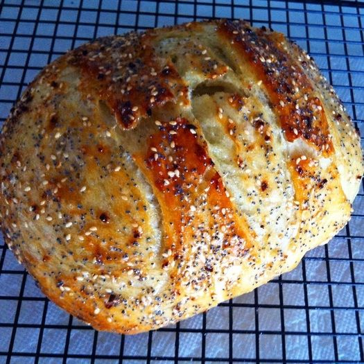 """Everything"" Bread (no knead dutch oven bread)"