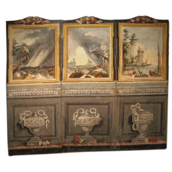 18th Century French 3-panel Folding Screen, After Claude Vernet | 1stdibs.com