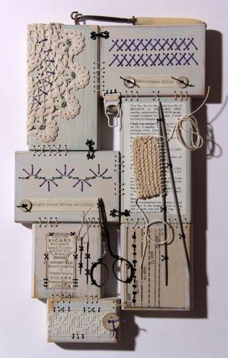 """Patchwood Sampler """"Garter Stitch"""" Hand stitched wood with vintage haberdashery treasures                                                                                                                                                                                 More"""