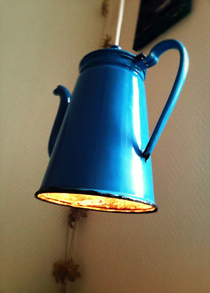 Lamp made of an old coffee-pot