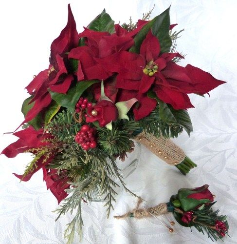Christmas Wedding Flower Ideas: Red Poinsettia Wedding Bouquet Set
