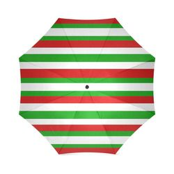 Red, green and white multi striped  Foldable Umbrella