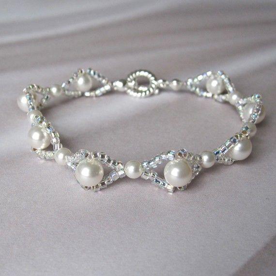 Tejido blanco nupcial pulsera Swarovski perlas plata semillas de bolas