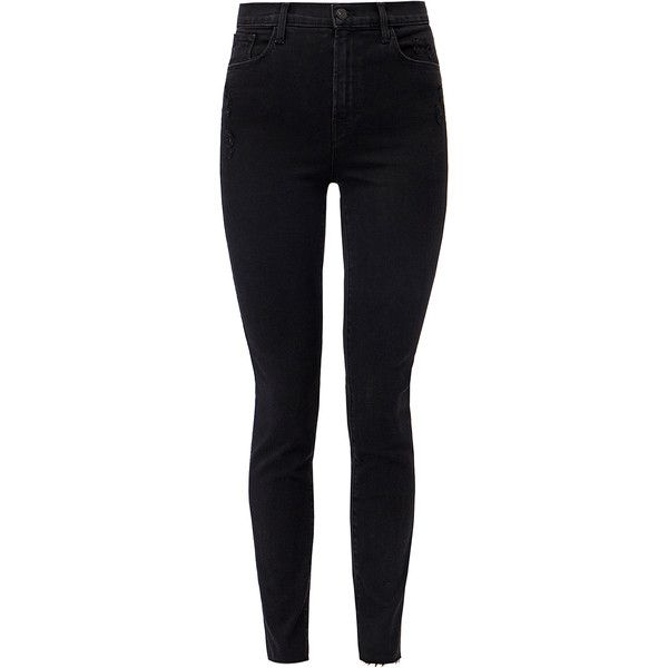 J Brand Carolina Exile Photo Ready Super High-Rise Skinny Jeans ($135) ❤ liked on Polyvore featuring jeans, black, high-waisted skinny jeans, high rise jeans, j brand jeans, skinny leg jeans and frayed-hem jeans