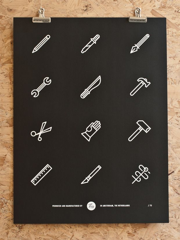 Illustrated pictogram tools poster #icons #pictograms