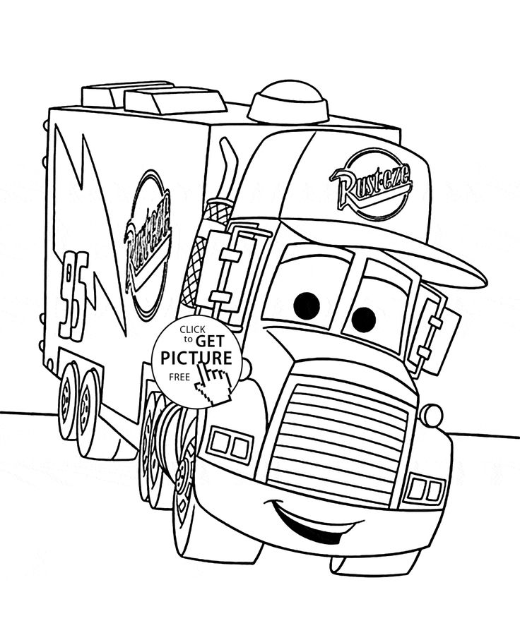 Cars Mack Coloring Page For Kids Disney Pages Printables Free