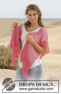 """Song For Susan - Gehäkeltes DROPS Tuch in """"Cotton Merino"""" mit Sternenmuster. - Free pattern by DROPS Design"""