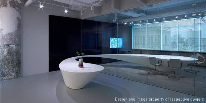 Corian 174 Curved Conference Table Through The Glass Wall At