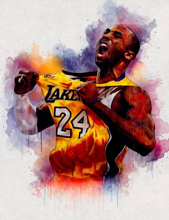 free shipping 8072b 5c6ee Kobe Bryant NBA Print poster, Watercolor, Personalized gift, Digital  Download, Modern art print any room wall decor Contemporary Art PRINT