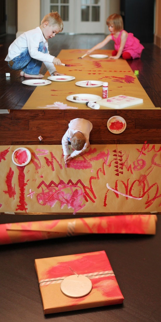 2 birds, 1 stone - let kids paint on a giant roll of brown paper and use it to wrap presents! I do something similar with stamps for all my wrapping paper. Looks so nice and is less expensive.