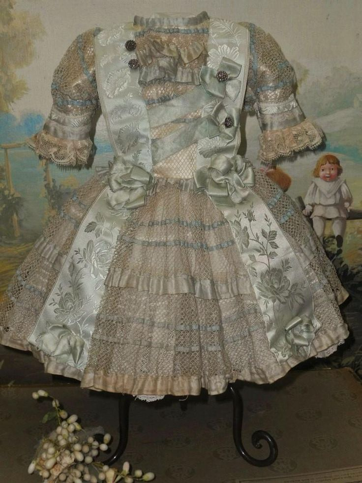 ~~~ Pretty French Bebe Costume with Lace Bonnet ~~~