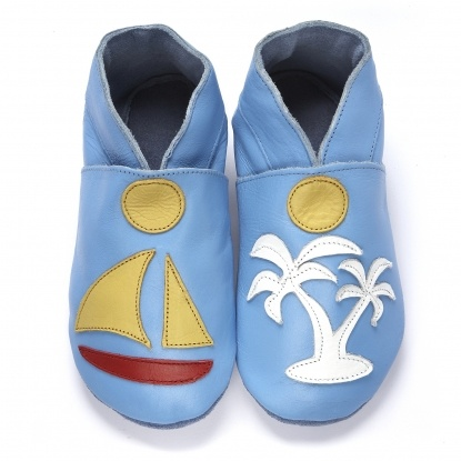 Bord de Mer - chaussons en cuir souple - didoodam - soft shoes - slippers for babies and children