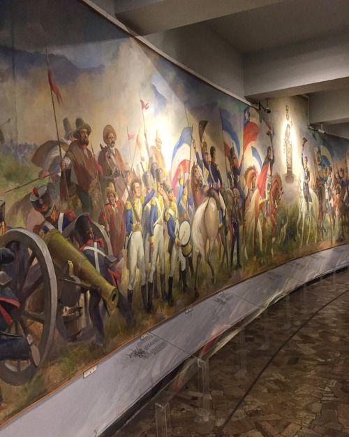 """20 metros de largo mide el mural """"Alegoría de la batalla de Maipú"""" de #PedroSubercaseaux Es de 1954, lo ayudó el pintor Claudio Bravo y está en el sorprendente Museo del Carmen de Maipú. (en Museo del Carmen)"""