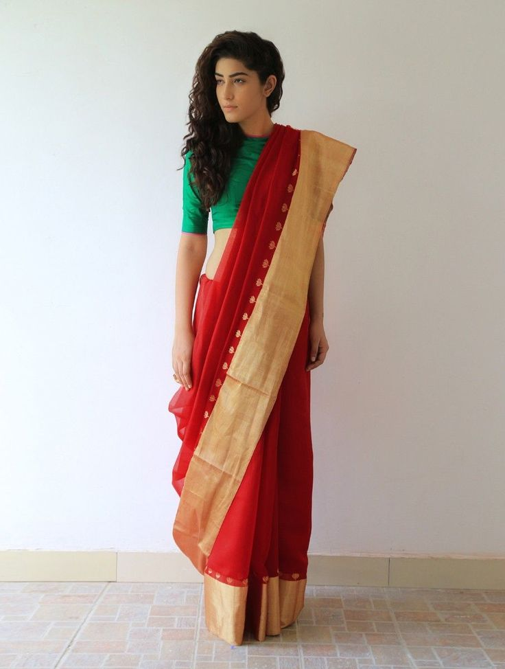 Buy Deep Red Gold Gajra Silk & Zari Saree By Raw Mango Online at Jaypore.com
