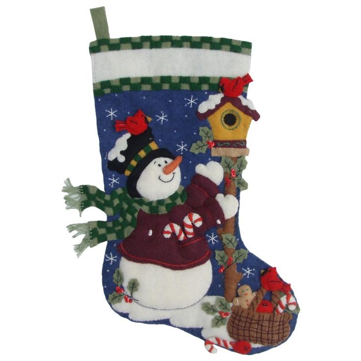 Finished Handcrafted Bucilla Felt Christmas Stocking - Folksy Snowman. $95.00, via Etsy.