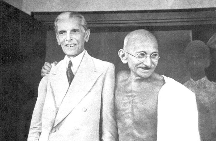 Gandhi and Muhammad Ali Jinnah in Bombay 1944.