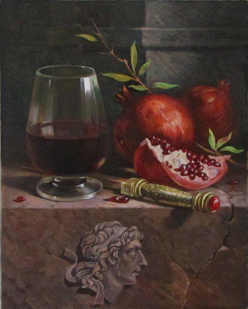 Pomegranates are so beautiful in still life art.