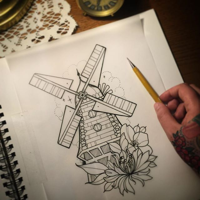 """Quiet sick day at home drawing windmill and some knapweed..sleep time #luckystriketattoo"" Photo taken by @j00lie on Instagram, pinned via the InstaPin iOS App! http://www.instapinapp.com (10/23/2015)"