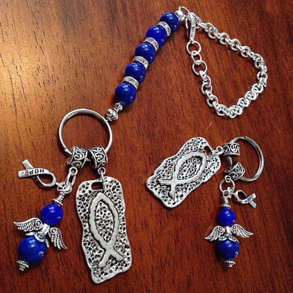 Keychain and Rearview Mirror Charm made with Blue Beads Help Fight Colon Cancer. March is National Colon Cancer Awareness    *Colon cancer is the third most common cancer in the United States, behind only lung and prostate cancers in men, breast cancers in women, and the second leading cause of cancer death.    *It is estimated that in 2013, 50,830 people will die of colon cancer. But the truth is: it doesnt have to be this way. If everyone 50 years or older had a regular screening test, as…