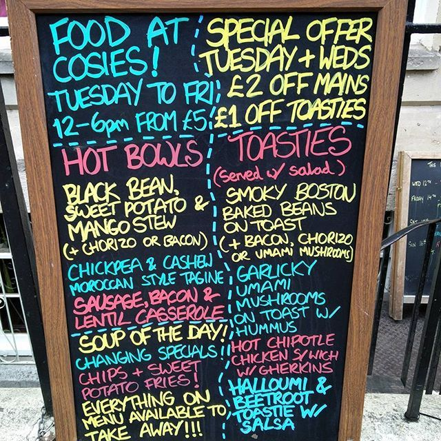 New board outside Cosies! All hand drawn by myself. We are open Tuesday to Friday at Cosies, come in for some wholesome, vibrant and tasty hot food from across the globe. Special offers Tuesday and Wednesday and every day till end of October if you present a flyer to us when you order food . .  #Cosies #popupkitchen #popup #tastyfood #food #sign #blackboard #graphics #redgoldandgreen #font #chalk #chalkpen  Yummery - best recipes. Follow Us! #tastyfood