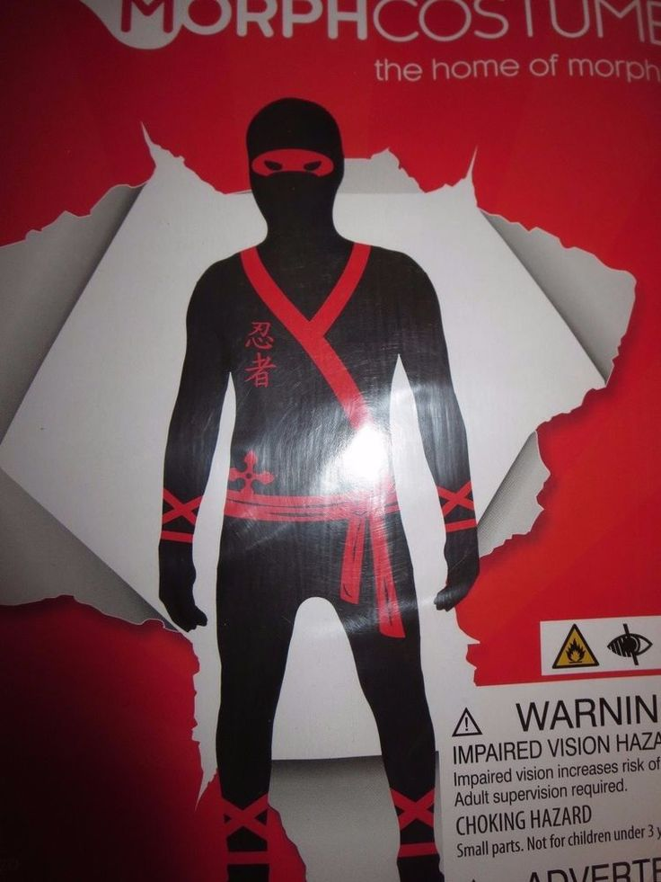 Boys Ninja Morphsuit Child Halloween Costume Skin suit XL 14-16 #Morphsuits #CompleteOutfit