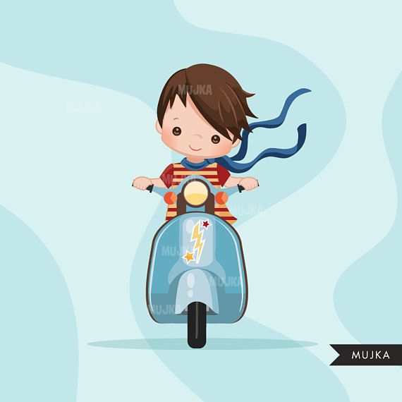 Scooter Boy Clipart Sport Graphics Summer Party Printables
