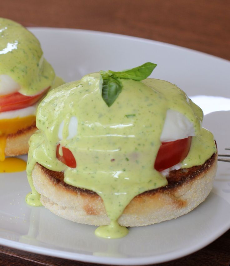 Caprese Eggs Benedict. What I love most about this recipe is the easy lemon basil hollandaise sauce. It's great with most eggs and I use it with salmon as well.