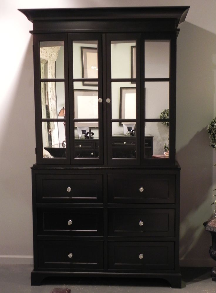 Englishmans Black Painted TV Cabinet W/ Mirror Doors.
