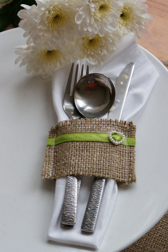 1 sample Burlap silverware pocket place by Littlewhiteboutique, $1.00