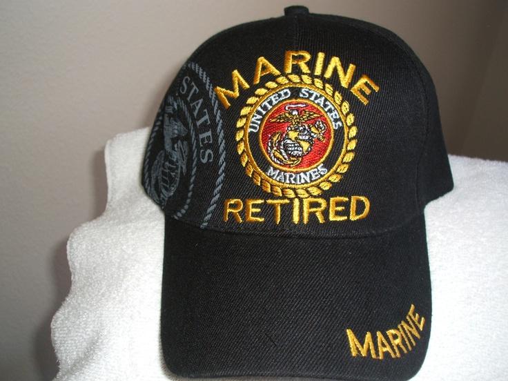 U S Marine (Retired) Emblem on a new Black ball cap U. S