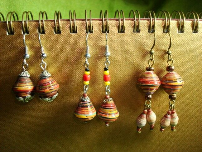 Collection of paper bead earrings