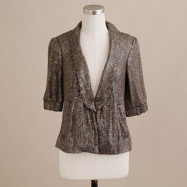 Moonbeam Sequined blazer ($495) ❤ liked on Polyvore featuring outerwear, jackets, blazers, jcrew, silk jacket, blazer jacket, j crew jacket, j crew blazer and long blazer