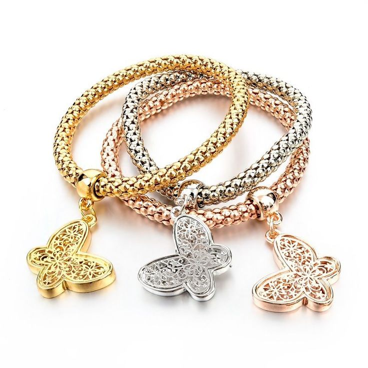 Fashion Girl Bracelet Floating Charms Crystal Butterfly Stack Gold Filled Bangle #LongWay #Chain