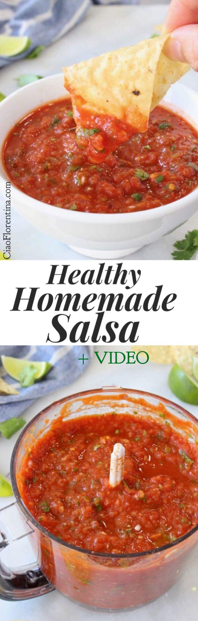 Healthy Homemade Salsa Recipe Video with Cilantro, Garlic and Lime   CiaoFlorentina.com @CiaoFlorentina