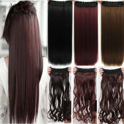 Long Straight  26 Inch (66 cm)  Clip In Hair Extension Brown Blonde Black Hair Pad Free Fast Ship