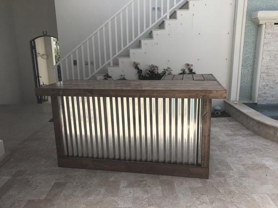 The Walnut Beach Bar 7 X 4 5 Wood And Corrugated Metal Indior Etsy Indoor Bar Outdoor Patio Bar Corrugated Metal