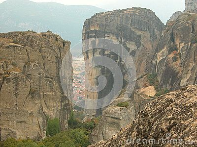 Conglomerate rock formations, at Meteora, Kalabaka, Greece. Taken on a misty day in September 2013.